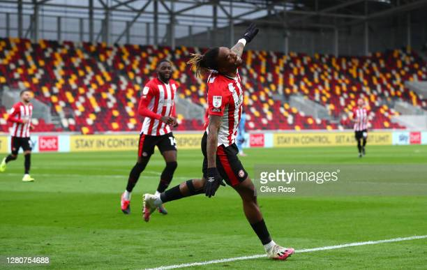 Ivan Toney of Brentford celebrates after scoring his team's first goal during the Sky Bet Championship match between Brentford and Coventry City at...