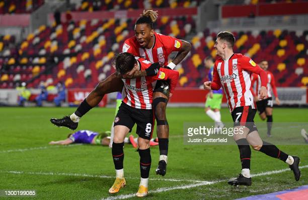 Ivan Toney of Brentford celebrates after scoring his team's second goal during the Sky Bet Championship match between Brentford and Bristol City at...