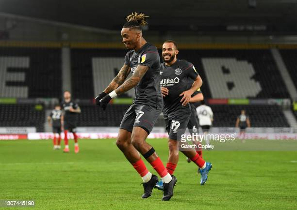 Ivan Toney of Brentford celebrates after scoring their side's first goal during the Sky Bet Championship match between Derby County and Brentford at...