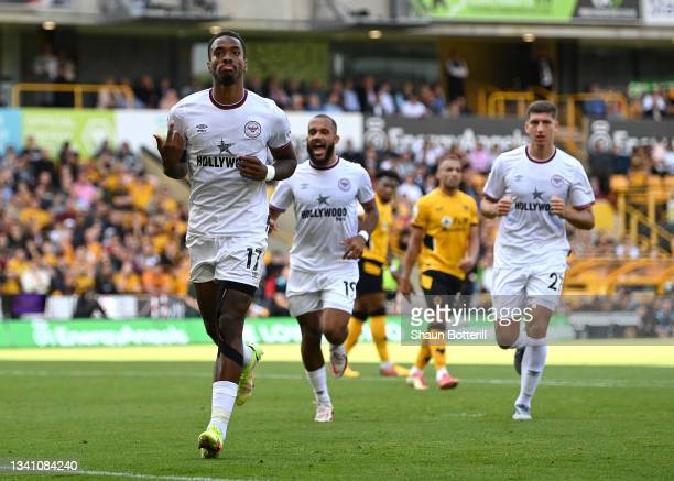 Ivan Toney of Brentford celebrates after scoring their side's first goal during the Premier League match between Wolverhampton Wanderers and...