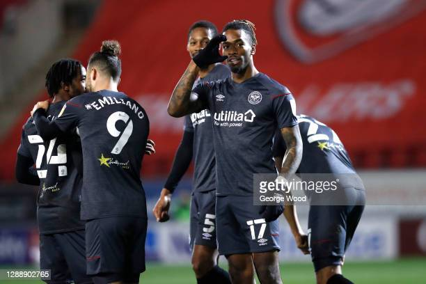 Ivan Toney of Brentford celebrates after scoring their sides second goal during the Sky Bet Championship match between Rotherham United and Brentford...