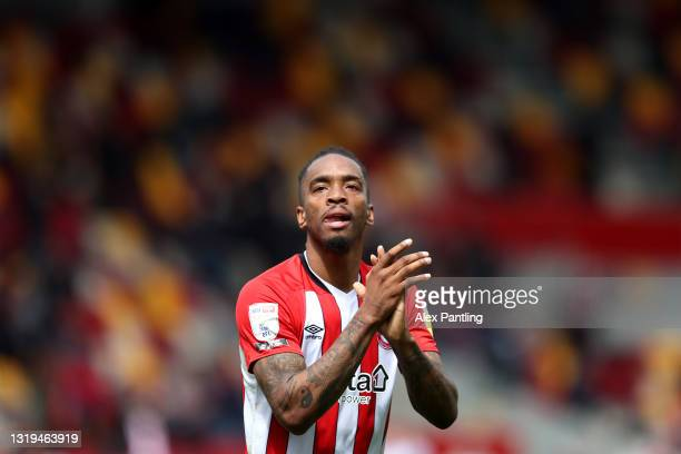 Ivan Toney of Brentford celebrates at full time during the Sky Bet Championship Play-off Semi Final 2nd Leg match between Brentford and AFC...