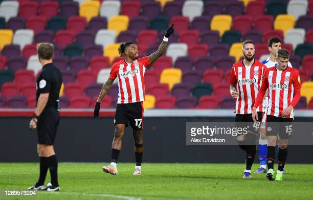 Ivan Toney of Brentford celebrates scoring his sides first goal during the Sky Bet Championship match between Brentford and Blackburn Rovers at...