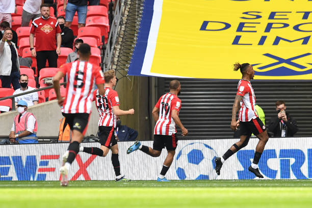 Ivan Toney of Brentford celebrates scoring the opening goal during the Sky Bet Championship Play Off Final match between Brentford and Swansea City...