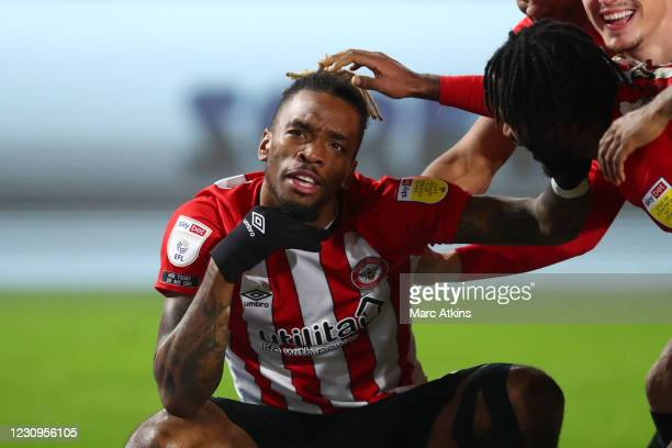 Ivan Toney of Brentford celebrates scoring their 2nd goal during the Sky Bet Championship match between Brentford and Bristol City at Brentford...