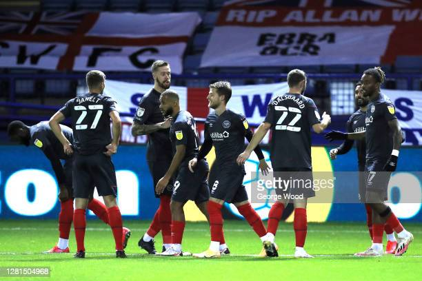 Ivan Toney of Brentford FC celebrates with teammates after scoring his sides first goal during the Sky Bet Championship match between Sheffield...