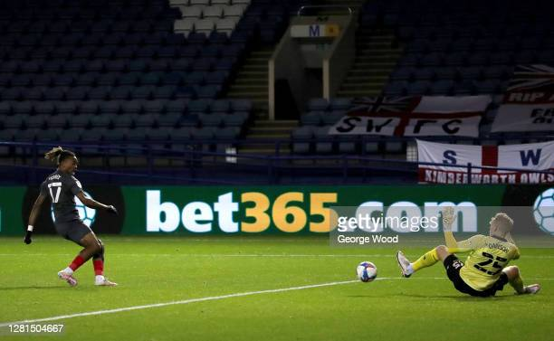 Ivan Toney of Brentford FC scores his sides first goal during the Sky Bet Championship match between Sheffield Wednesday and Brentford at...