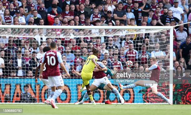 Ivan Toney of Brentford scores his team's first goal during the Premier League match between Aston Villa and Brentford at Villa Park on August 28,...