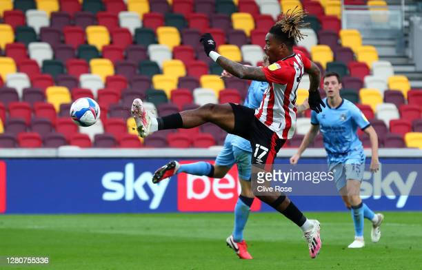 Ivan Toney of Brentford scores his team's first goal during the Sky Bet Championship match between Brentford and Coventry City at Brentford Community...