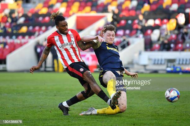 Ivan Toney of Brentford scores his team's second goal during the Sky Bet Championship match between Brentford and Stoke City at Brentford Community...
