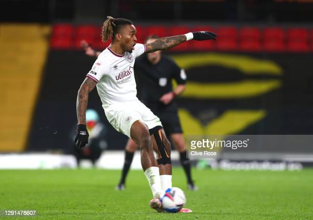 Ivan Toney of Brentford scores their sides first goal from the penalty spot during the Sky Bet Championship match between Watford and Brentford at...
