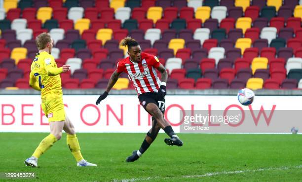 Ivan Toney of Brentford scores their team's second goal during the Sky Bet Championship match between Brentford and Wycombe Wanderers at Brentford...