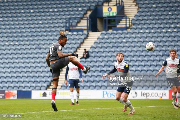 Ivan Toney of Brentford scores their team's third goal during the Sky Bet Championship match between Preston North End and Brentford at Deepdale on...