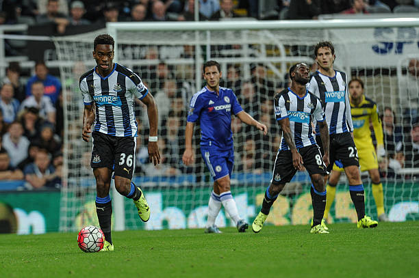 Ivan Toney of Newcastle runs with the ball into play during the Barclays Premier League match between Newcastle United and Chelsea at St.James Park...