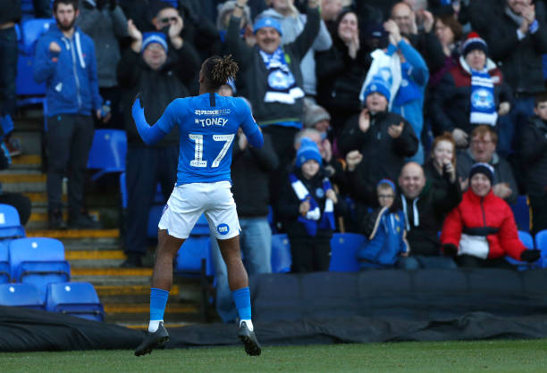 Ivan Toney of Peterborough celebrates scoring the first goal of the match during the FA Cup Second Round match between Peterborough and Dover at...