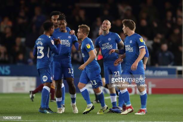 Ivan Toney of Peterborough United celebrates after scoring a goal to make it 1-1 during the Sky Bet League One match between Peterborough United and...