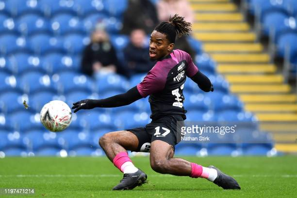 Ivan Toney of Peterborough United scores his team's first goal during the FA Cup Third Round match between Burnley FC and Peterborough United at Turf...