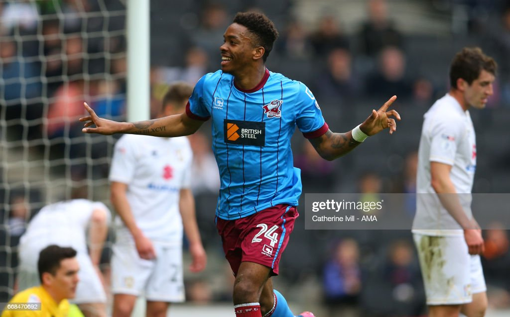Ivan Toney of Scunthorpe United celebrates after scoring to make it 0-1 during the Sky Bet League One match between MK Dons and Scunthorpe United at StadiumMK on April 14, 2017 in Milton Keynes, England.