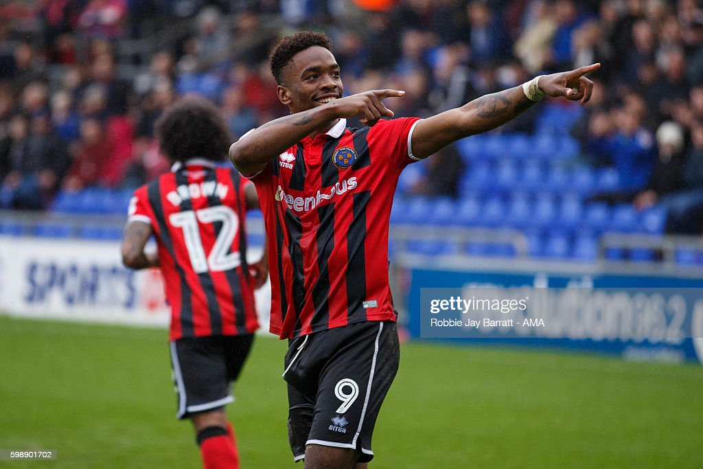 Ivan Toney of Shrewsbury Town celebrates after scoring a goal to make it 1-2 during the Sky Bet League One match between Oldham Athletic and Shrewsbury Town at Boundary Park on September 3, 2016 in Oldham, England.