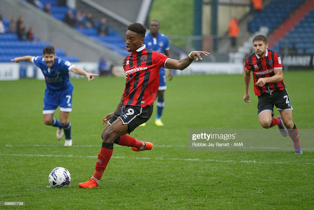 Ivan Toney of Shrewsbury Town scores a goal to make it 1-2 during the Sky Bet League One match between Oldham Athletic and Shrewsbury Town at Boundary Park on September 3, 2016 in Oldham, England.