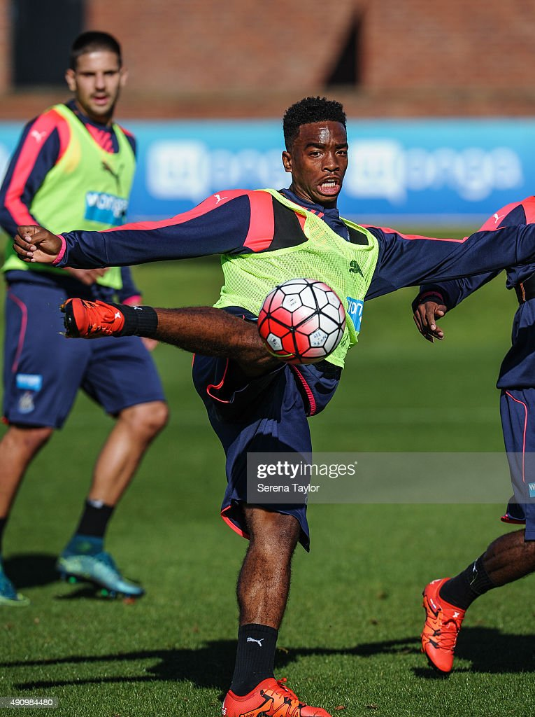 Ivan Toney strikes the ball during the Newcastle United Training session at The Newcastle United Training Centre on October 2, 2015, in Newcastle upon Tyne, England.