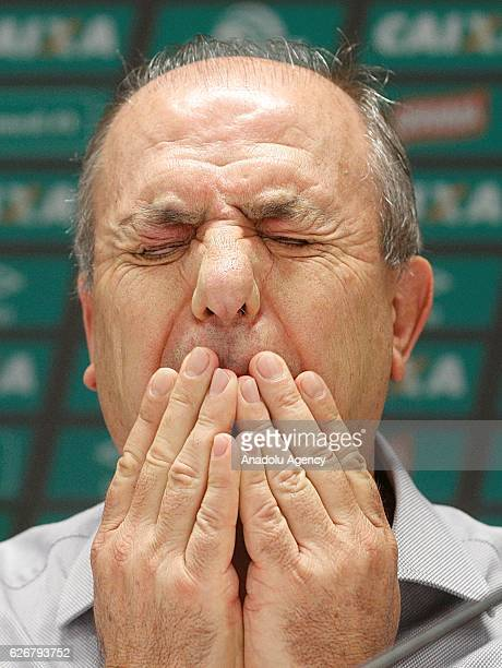 Ivan Tozzo the acting president of Chapecoense team attends a press conference in Chapeco Brazil November 30 2016 The plane carrying at least 81...