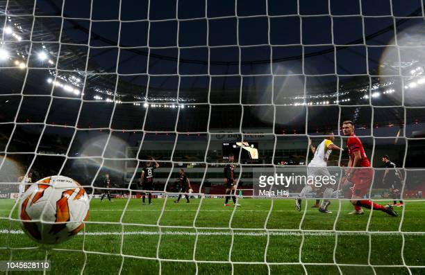 Ivan Trickovski of AEK Larnaca FC scores his team's first goal during the UEFA Europa League Group A match between Bayer 04 Leverkusen and AEK...