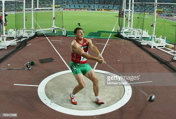 Ivan Tsikhan of Belarus competes en route to winning the gold medal in the Men's Hammer Throw Final on day three of the 11th IAAF World Athletics...