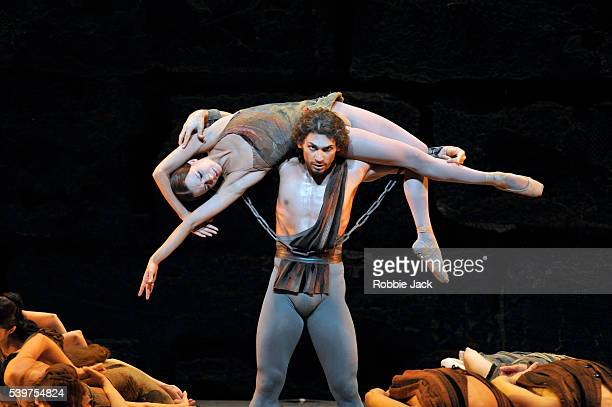 Ivan Vasiliev as Spartacus and Nina Kaptsova as Phrygia in the Bolshoi Ballet's production of Yuri Grigorovich's Spartacus at the Royal Opera House...
