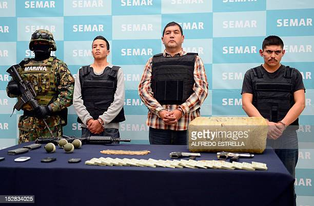 Ivan Velazquez Caballero aka Z 50 or El Taliban senior leader in the Zetas drug cartel and member of the Gulf cartel is presented to the press at the...