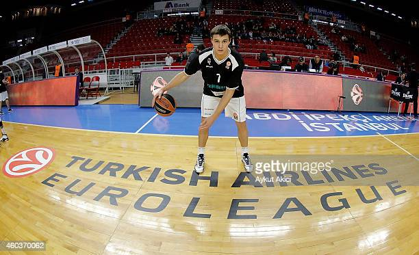 Ivan Viktorov #7 of Nizhny Novgorod in action during the 20142015 Turkish Airlines Euroleague Basketball Regular Season Date 9 game between Anadolu...