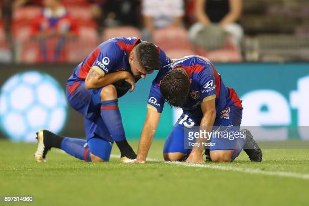 Ivan Vujica and Dimitri Petratos of the Jets during the round 12 ALeague match between the Newcastle Jets and the Western Sydney Wanderers at...
