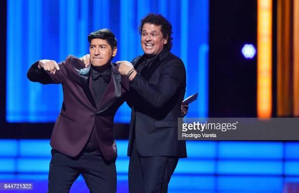 Ivan Zamorano and Carlos Vives speak onstage during Univision's 29th Edition of Premio Lo Nuestro A La Musica Latina at the American Airlines Arena...