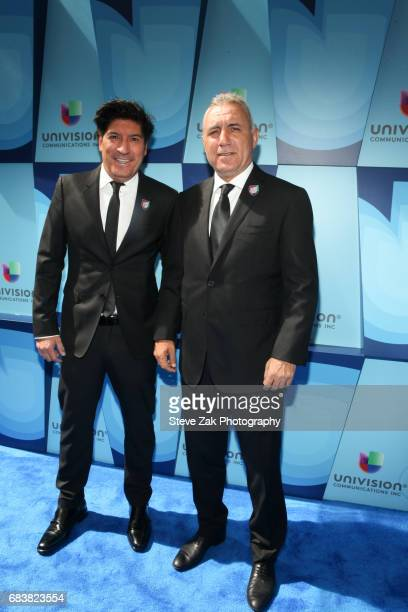 Ivan Zamorano and Hristo Stoichkov attend Univision's 2017 Upfront at the Lyric Theatre on May 16 2017 in New York City