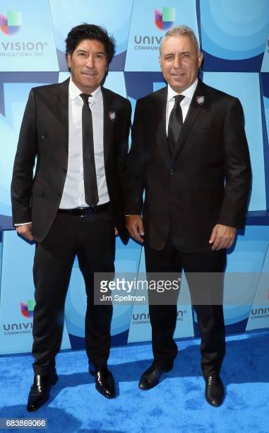Ivan Zamorano and Hristo Stoichkov attends Univision's 2017 Upfront at the Lyric Theatre on May 16 2017 in New York City