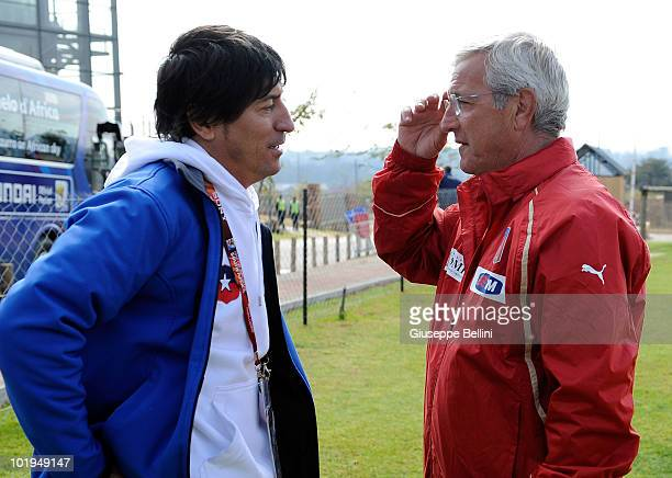 Ivan Zamorano and Italy head coach Marcello Lippi after training on June 10 2010 in Centurion South Africa