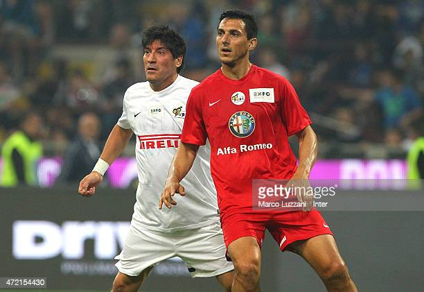 Ivan Zamorano and Nicolas Burdisso during the Zanetti and friends Match for Expo 2015 at Stadio Giuseppe Meazza on May 4 2015 in Milan Italy