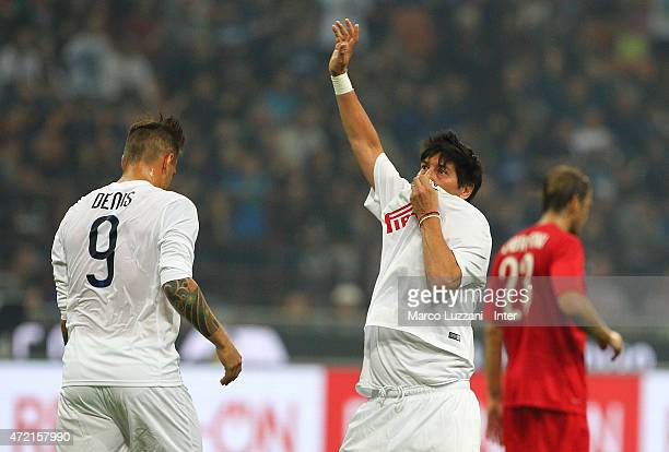 Ivan Zamorano celebrates his goal during the Zanetti and friends Match for Expo 2015 at Stadio Giuseppe Meazza on May 4 2015 in Milan Italy