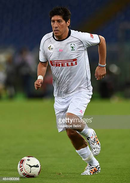 Ivan Zamorano in action during Interreligious Match for Peace at Olimpico Stadium on September 1 2014 in Rome Italy