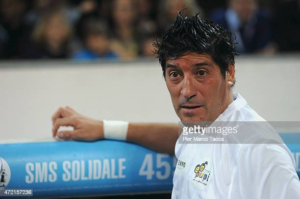 Ivan Zamorano of Pupi Team at the end of the half time during the Zanetti and friends Match for Expo at Stadio Giuseppe Meazza on May 4 2015 in Milan...