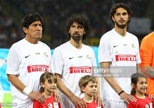 Ivan Zamorano Walter Samuel and Andrea Ranocchia before the Zanetti and friends Match for Expo 2015 at Stadio Giuseppe Meazza on May 4 2015 in Milan...