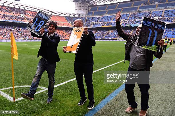 Ivan Zamorano Walter Zenga and Ruben Sosa Ardaiz former players of Internazionale Milano receive a tribute before the Serie A match between FC...