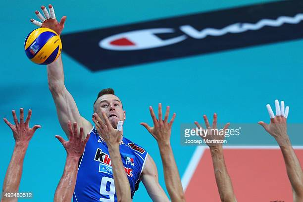 Ivan Zaytsev Of Italy Spikes The Ball During CEV Volleyball European Championship Playoff Match Between