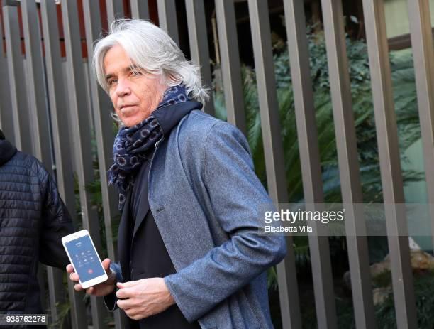 Ivan Zazzaroni arrives at the Fabrizio Frizzi funeral parlour at RAI Viale Mazzini on March 27 2018 in Rome Italy