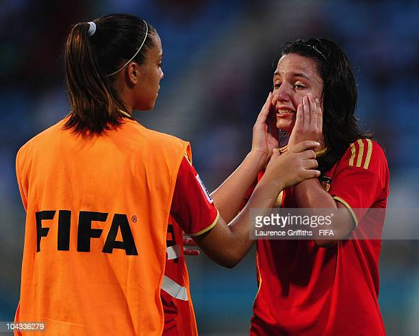 Ivana Andres of Spain shows her dissapointment after losing to South Korea during the FIFA U17 Women's World Cup Semi Final match between South Korea...