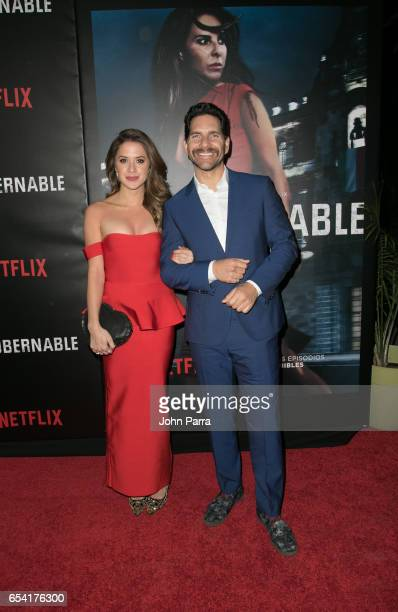 Ivana de Maria and Arap Bethke arrive at the Premiere Of Netflix's 'Ingobernable' at Colony Theater on March 15 2017 in Miami Beach Florida
