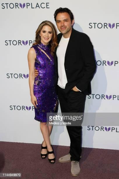 Ivana De Maria MorenoValle and Fernando Rovzar pose for photos during 'Story Place' App Red Carpet on April 24 2019 in Mexico City Mexico