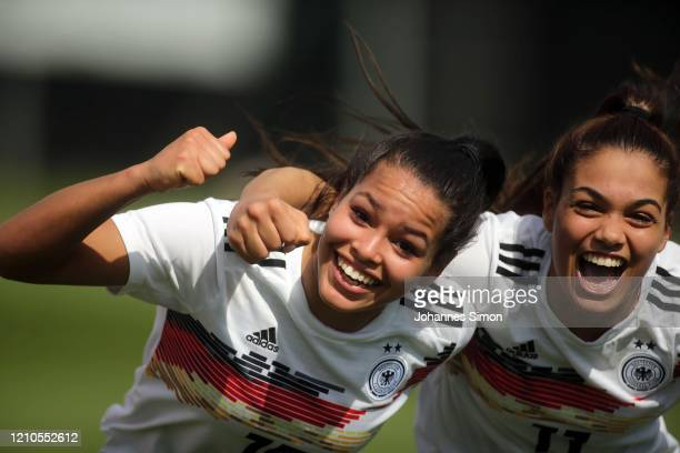 Ivana Fuso and Sonja Merazguia of Germany celebrate after winning the U19 Women's Tournament match between Germany and France at La Manga Club...