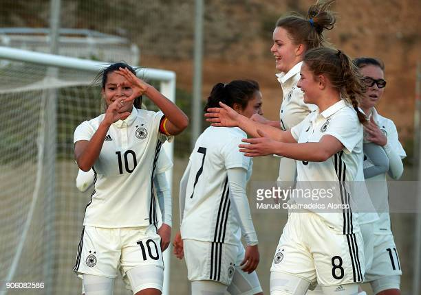 Ivana Fuso of Germany celebrates scoring her team's first goal with her teammates during the international friendly match between U17 Girl's Germany...
