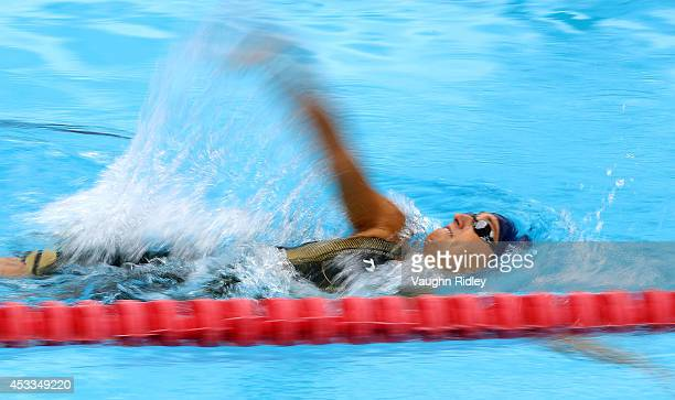 Ivana Gabrilo of Switzerland competes in the Women's 100m Backstroke during the 15th FINA World Masters Championships at Parc JeanDrapeau on August...